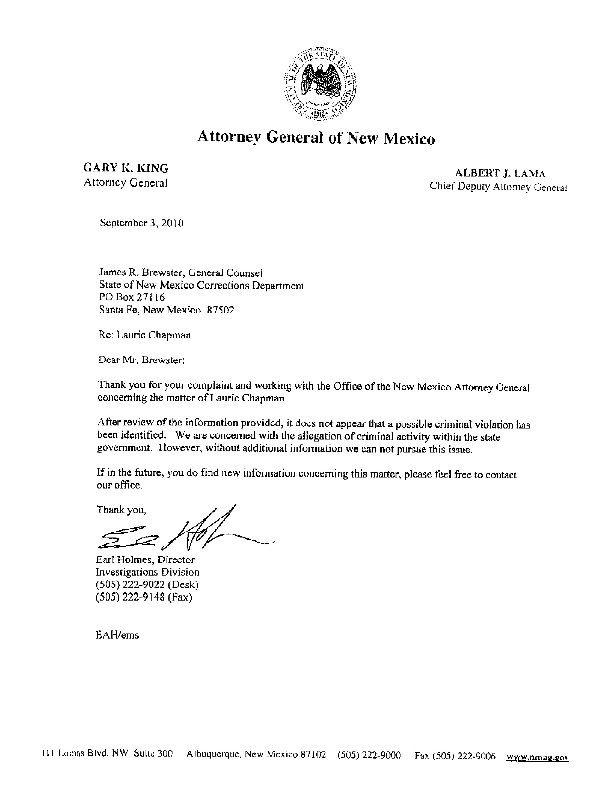 Ag Declined To Investigate Bribery Allegations