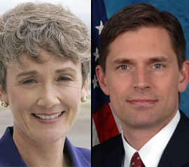 Heather Wilson, left, and Martin Heinrich