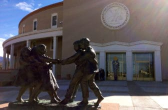 A statue outside the Roundhouse in Santa Fe.