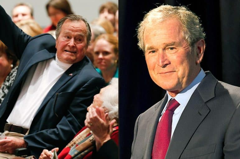 Former U.S. Presidents George H.W. Bush (l) and George W. Bush.