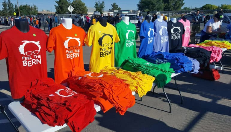 T-Shirts a vendor was selling outside Bernie Sanders' rally in Vado on Saturday.