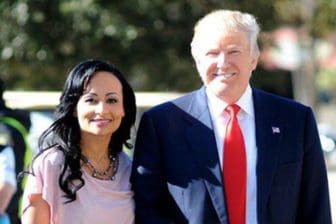 Campaign spokeswoman Katrina Pierson and Republican presidential nominee Donald Trump.