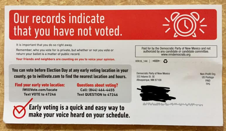Mailer from the Democratic Party of New Mexico