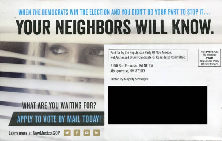 Mailer from the Republican Party of New Mexico