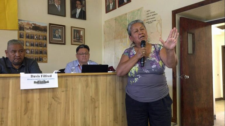 Marie Herbert-Chavez speaks at Navajo Nation Council listening session at Counselor Chapter.