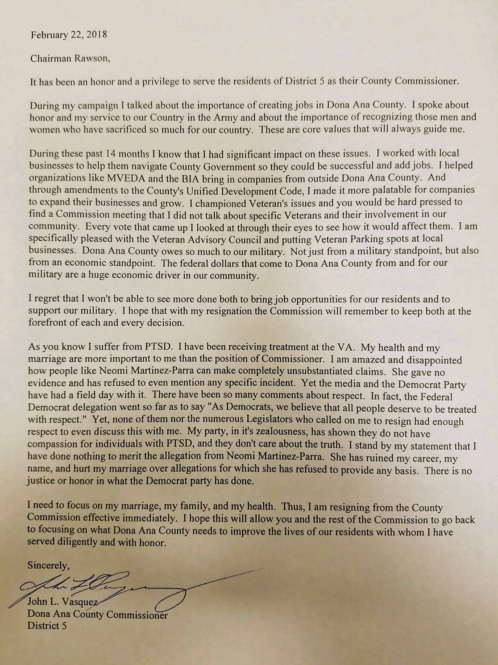 Read Vasquezu0027s resignation letter Embattled Vasquez