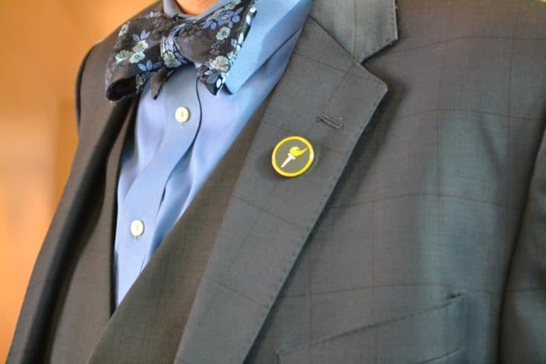 Blair Dunn's bow tie and Libertarian pin.